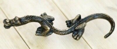 4 Rare 2 Sets Left and Right old style CHINESE DRAGON Cabinet Brass Knob 15 cm B 12