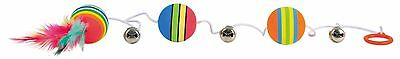 "Rainbow Balls on Elastic with Bells & Feathers Fun Kitten Cat Toy 80cm (31.5"") 3"