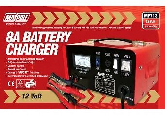Maypole Heavy Duty Steel 8A 8 Amp 12V Car Van Tractor Battery Charger #MP713 2