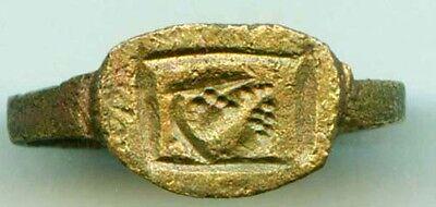 AD400 Roman Thrace Bulgaria Engraved Intaglio Bronze Ring Sz7 Grain Galley Ship 3