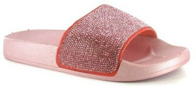 13533ac0cf49a0 2 of 6 Womens Ladies Slip On Sparkly Diamante Bling Sliders Summer Sandals  Size UK 3-8
