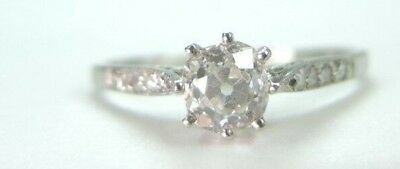 Antique Art Deco Vintage Diamond Engagement Ring Platinum EGL USA Ring Size 6.25 8
