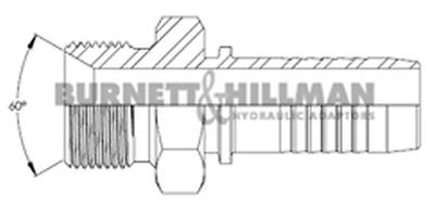 Burnett & Hillman BSP Male x Hose-Tail STRAIGHT Hydraulic Fitting