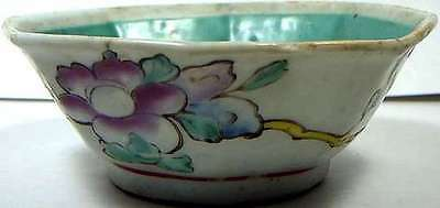 """Antique 1800AD Hand Painted """"Ming Style"""" Famille Rose Porcelain Octagonal Bowl"""