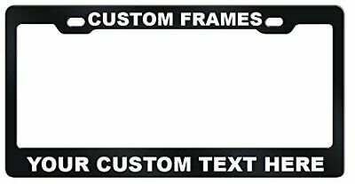 CUSTOM Personalized BLACK metal License Plate Frame Tag Cover Car Auto Shields 2
