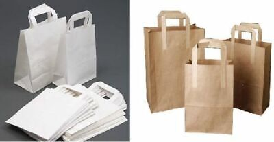 Brown & White Kraft Paper Sos Food Carrier Bags With Handles Party Takeaway Etc 3