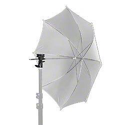 walimex Blitz-und Schirmhalter-Set, 3 Schirme (gold/silber/weiß) + Halter