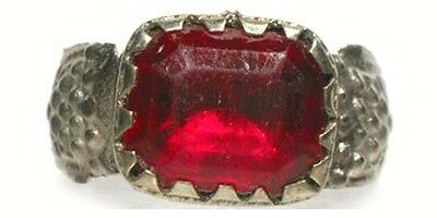 Antique 18thC Russia Ukraine Crimean Tatar Silver Ring Ruby Red Glass Gem Sz 11¼ 4