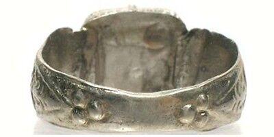 Antique 18thC Russia Ukraine Crimean Tatar Silver Ring Ruby Red Glass Gem Sz 11¼ 5
