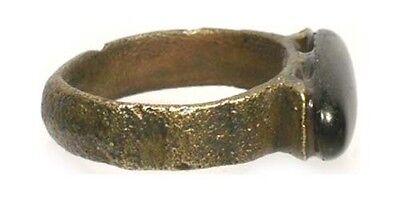 AD100 Roman Celtic Dalmatia (Croatia) Sz9 Ring 18thC Antique 5ct Russia Obsidian