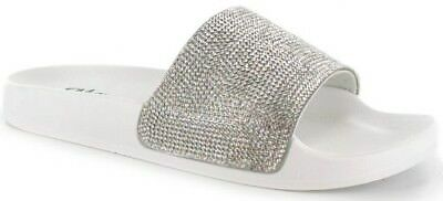 023b5697a99a0a 1 of 6FREE Shipping Womens Ladies Slip On Sparkly Diamante Bling Sliders  Summer Sandals Size UK 3-8