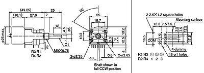 JAPAN ALPS MOTOR Volume Potentiometer 100K*4 Channel Volume Motor Knob 4 5V  6V