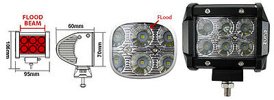 """2x 18W 4inch CREE LED Work Light Bar Driving Flood Lamp 4WD Offroad Truck UTE 4"""" 2"""