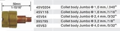 """2 pcs 45V0204 Large Gas Len Collet Bodys for Tig Torch WP-17//18//26  1.0mm 0.040/"""""""