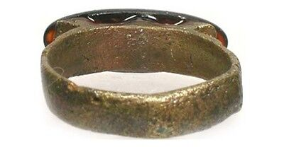 AD100 Roman Celtic Dalmatia (Croatia) Sz9 Ring 18thC Antique 5ct Russia Obsidian 4