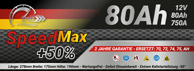 BATTERIA AUTO SPEED MAX L3 80 Ah 750A EN = FIAMM 80 DX + PRONTA ALL'USO 2