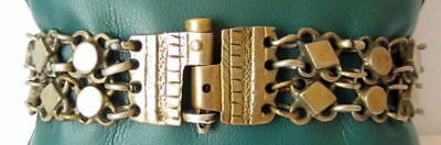 ANTIQUE 1800 s. SILVER KNITTED TWO ROWS LADY BRACELET WITH GOLD PLATED #  52C 7