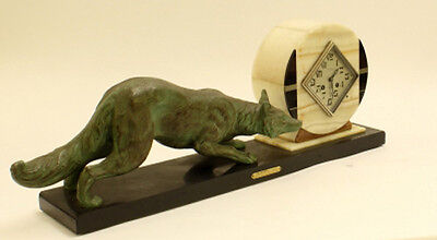 XXL ART DECO 1937 French Fox spelter bronze marked clock marble base rare 2