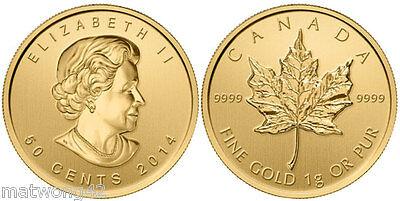 ** 1 gram 50 cents GOLD MAPLE LEAF COIN CANADA .9999 BULLION 2014 2016,or 2017 2