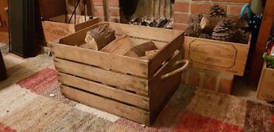 LOG BASKET / FIRE WOOD STORAGE  / FIREPLACE KINDLING BOX  Old Wooden Apple Crate 5