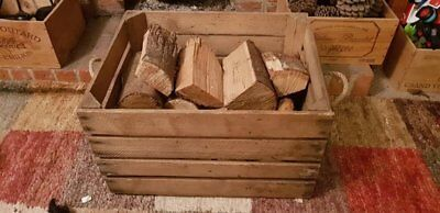 LOG BASKET / FIRE WOOD STORAGE  / FIREPLACE KINDLING BOX  Old Wooden Apple Crate 6