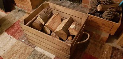 LOG BASKET / FIRE WOOD STORAGE  / FIREPLACE KINDLING BOX  Old Wooden Apple Crate 11