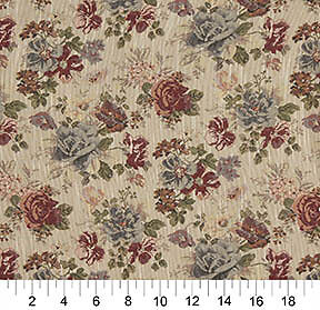 F900 Green Red And Blue Floral Tapestry Upholstery Fabric By The