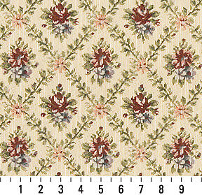 F920 Gold Burgundy Green Floral Diamond Tapestry Upholstery Fabric