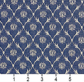 B636 Navy Blue Floral Trellis Jacquard Upholstery Fabric By The