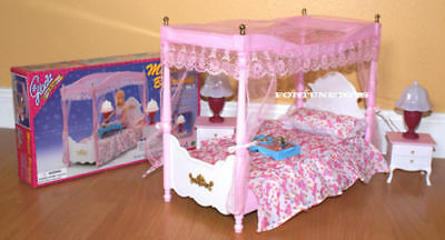 GLORIA DOLLHOUSE FURNITURE Canopy MASTER BEDROOM LAMPS Bed sheet SET FOR Barbie 2