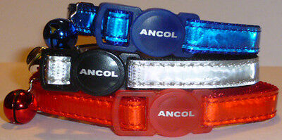 ANCOL GLOSS REFLECTIVE SAFETY RELEASE CAT COLLARS - Single or Multiple Option 2