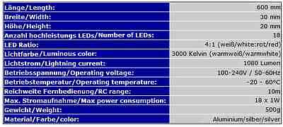 LED-AQUARIUMBELEUCHTUNG PowerLED 60cm SIMULATION TAGES-/MONDLICHT HQI T8 AB4WW 12