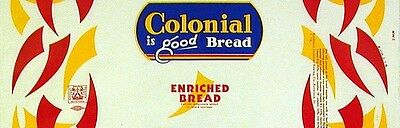 Vintage bread wrapper COLONIAL dated 1958 Rockford Illinois new old stock n-mint