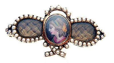 Brosche Gold 585 Lupenmalerei Mourningbrooch Trauerschmuck Haare Andenken 19. JH