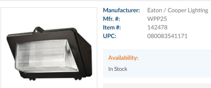 Cooper Lighting Metal Halide Wall Pack Light Fixture 320W 120-277V WPP32