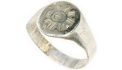 AD900 Ancient Roman-Byzantine Constantinople Istanbul Starburst Silver Ring Sz6½ 3