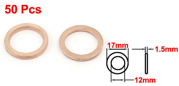 H● 50* 12 x17 x1.5mm Copper Crush Washer Flat Seal Ring Fitting. 3