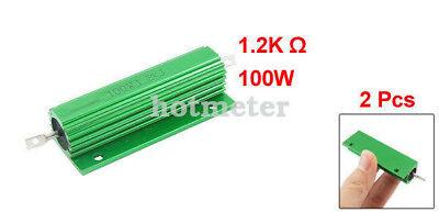 H● 2* 100W 1.2Kohm Green Aluminum Housed Wirewound Resistors. 2