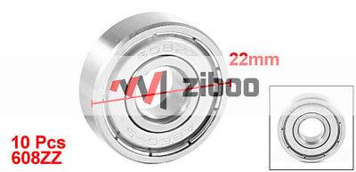 10 Pcs 608ZZ 22x8x7mm Metal Sealed Single Row Deep Groove Ball Bearing