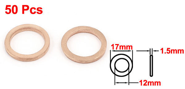 H● 50* 12 x17 x1.5mm Copper Crush Washer Flat Seal Ring Fitting. 2