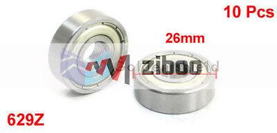 10 Pcs 629Z  9x26x8mm Single Row Shielded Deep Groove Ball Bearings Silver Tone 3