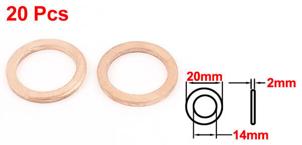 H● 20* 14 x20 x2mm Copper Crush Washer Flat Ring Seal Gasket Fitting -80 to 30C 2