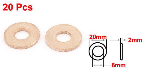H● 20* 8 x20 x2mm Tattoo Machine Copper Washer Flat Ring Gasket. 2