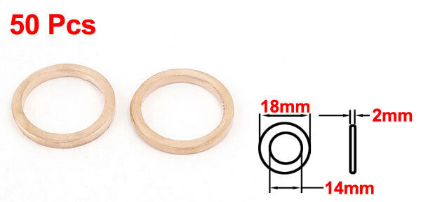 H● 50* 14 x18 x2mm Flat Copper Washer Ring Seal Gasket Replacement 2