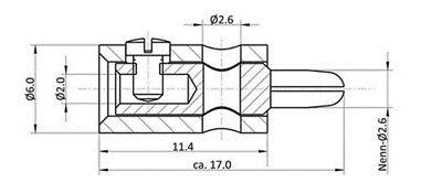 V001 - 10 Stück Querlochstecker 2,6mm Miniatur Stecker Bananenstecker