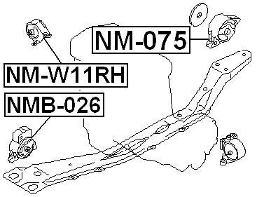 Engine Mount Rear Febest NM-075 fits 99-02 Infiniti G20 2.0L-L4