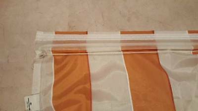3-tlg SET Raffrollo weiß orangene Taftblende B//H 140x170 2x Gardine B//H140x175