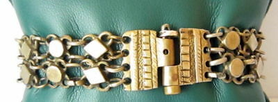 ANTIQUE 1800 s. SILVER KNITTED TWO ROWS LADY BRACELET WITH GOLD PLATED #  52C 4