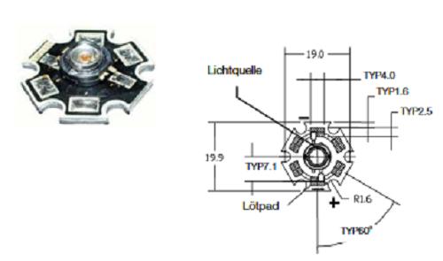 2x LED Luxeon Star LXHL-MWGC Batwing warmweiß 3300K 350mA 20lm Neu Warm White