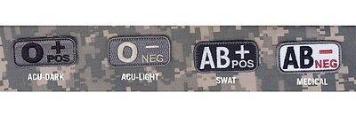 AB Mil Spec Monkey MSM Blood Type Patch-O B A Multicam-Wood-Desert-SWAT-ACU
